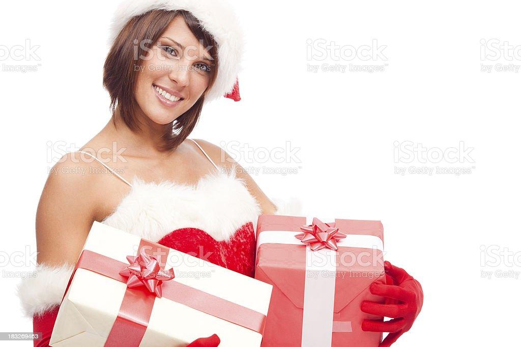 Sexy Santa Claus on white background posing stock photo