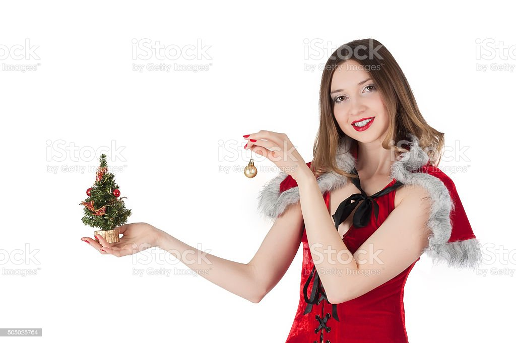 Sexy Santa girl with little New Year tree stock photo