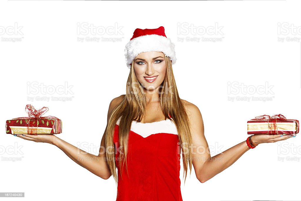 Sexy santa woman holding gifts royalty-free stock photo