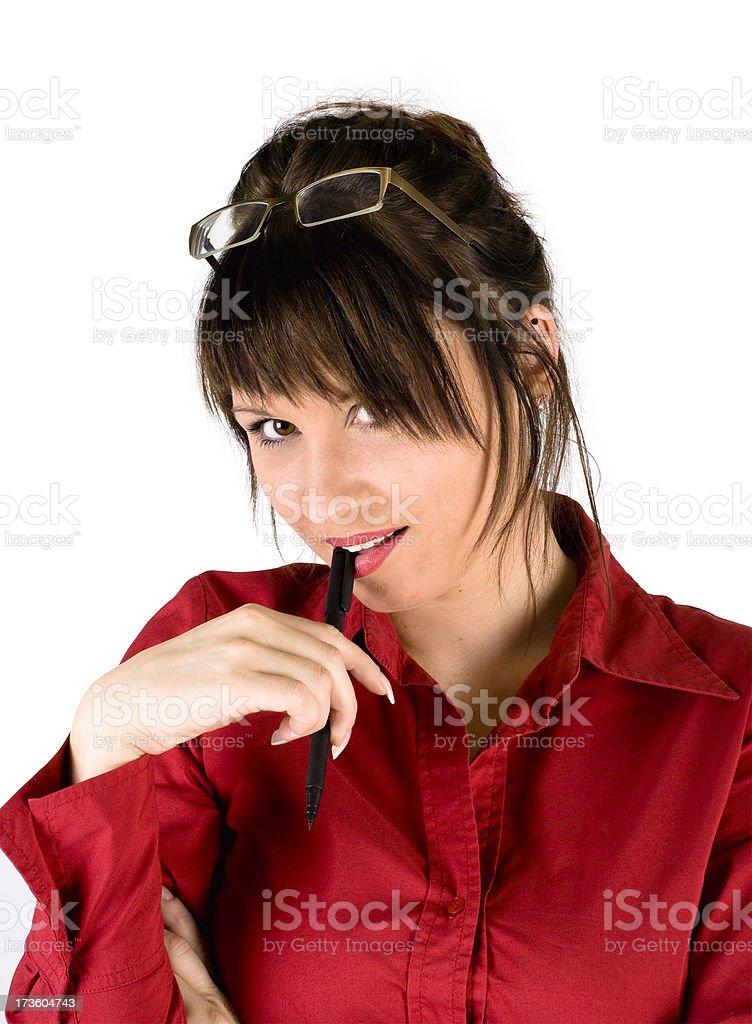 sexy secretary seducing you stock photo