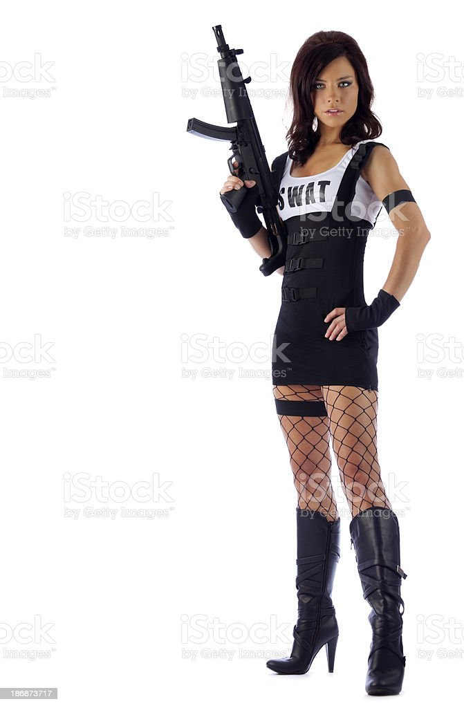 Sexy Security: Swat Woman with Garter and Gun royalty-free stock photo