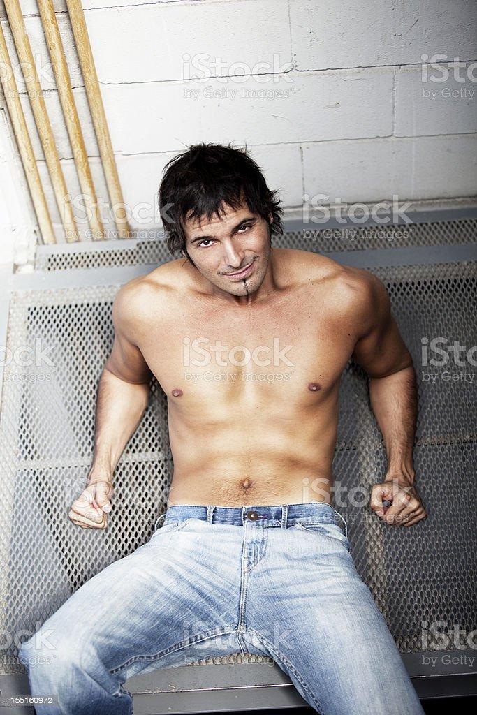 Sexy Shirtless Man Smiling royalty-free stock photo