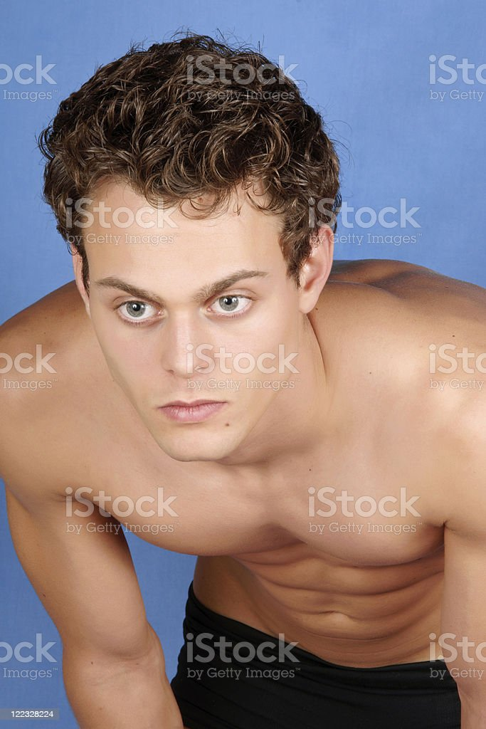Sexy shirtless young man stock photo