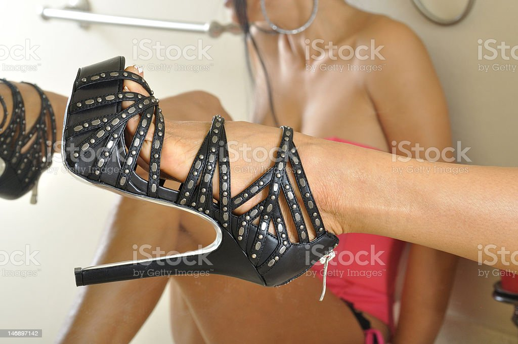 Sexy Shoe in Bathroom royalty-free stock photo