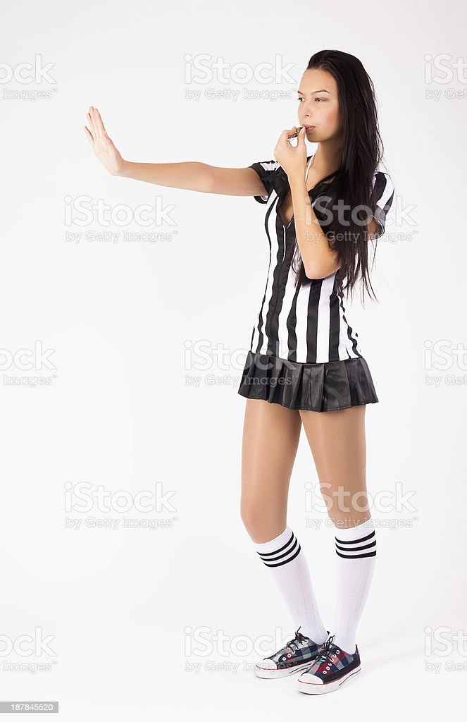 Sexy Soccer Referee whistling royalty-free stock photo
