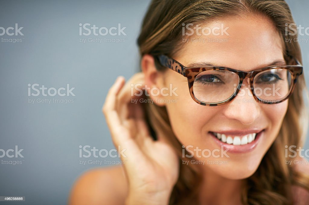 Sexy specs and a stunning smile stock photo