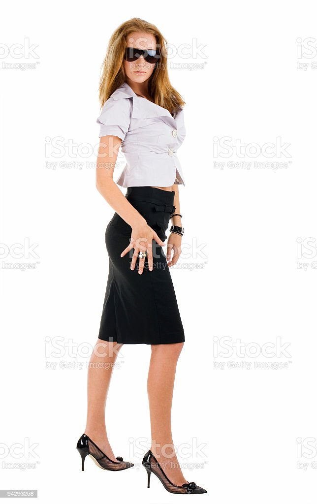 Sexy standing woman in stylish sunglasses royalty-free stock photo