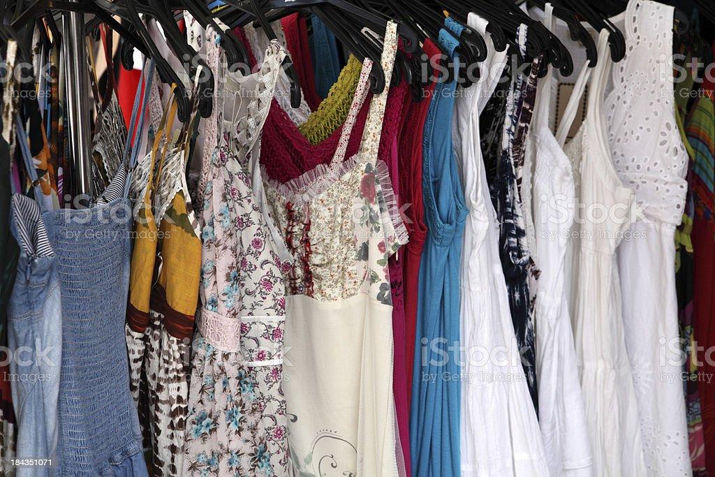 Sexy summer dresses ina row stock photo