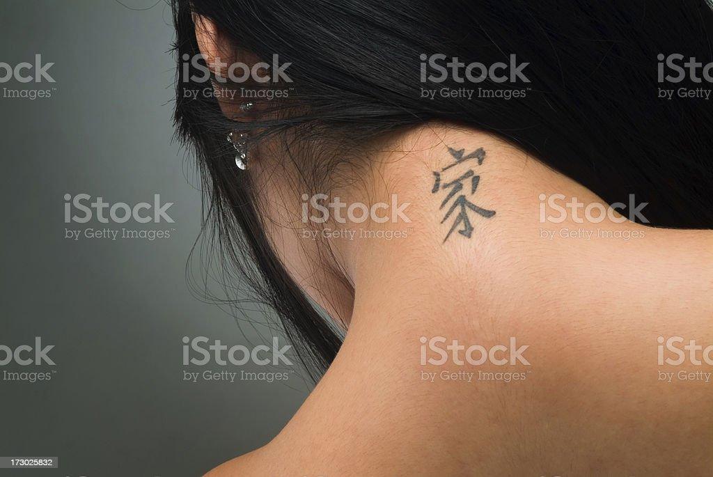Sexy tattoo on neck stock photo
