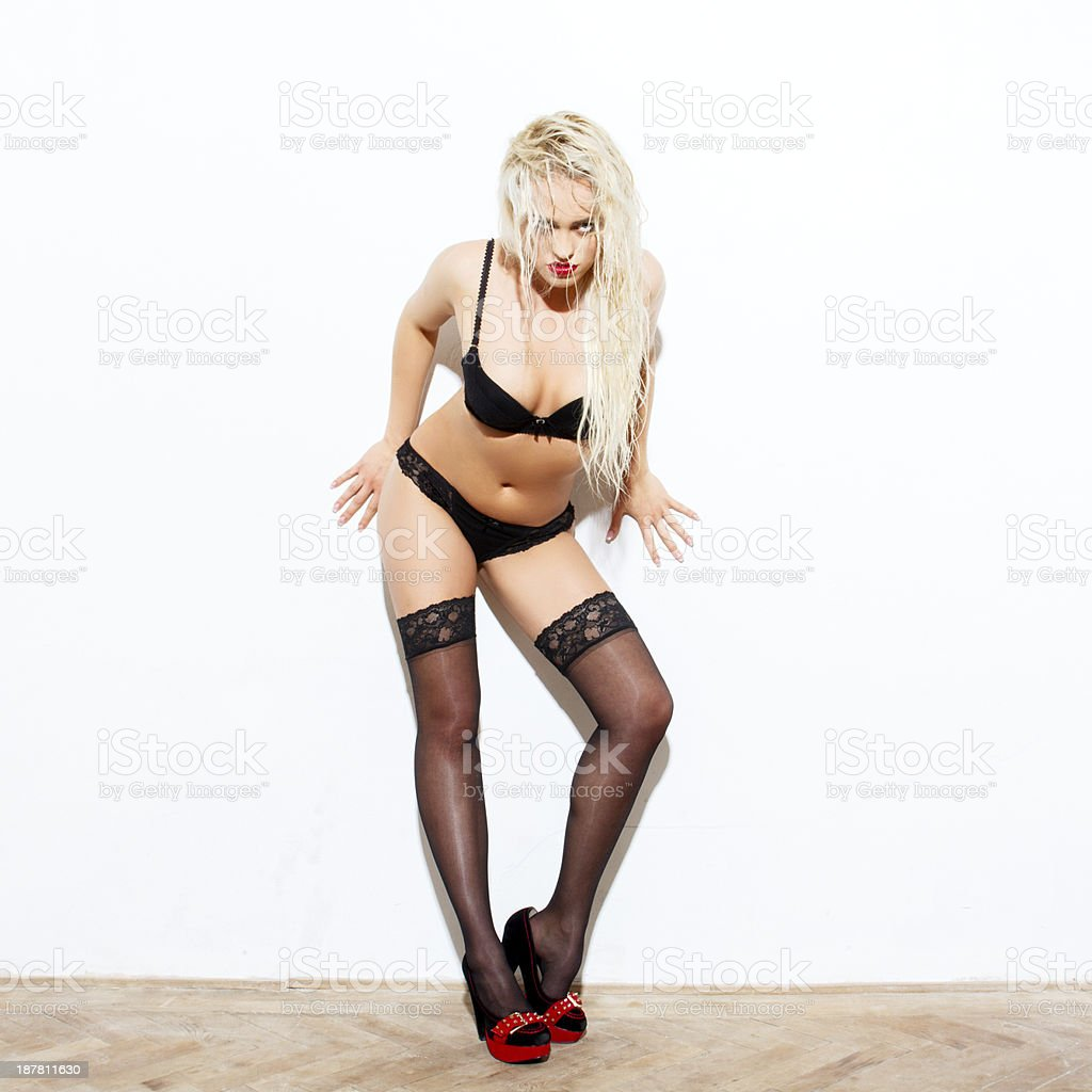 Sexy wet blonde woman royalty-free stock photo