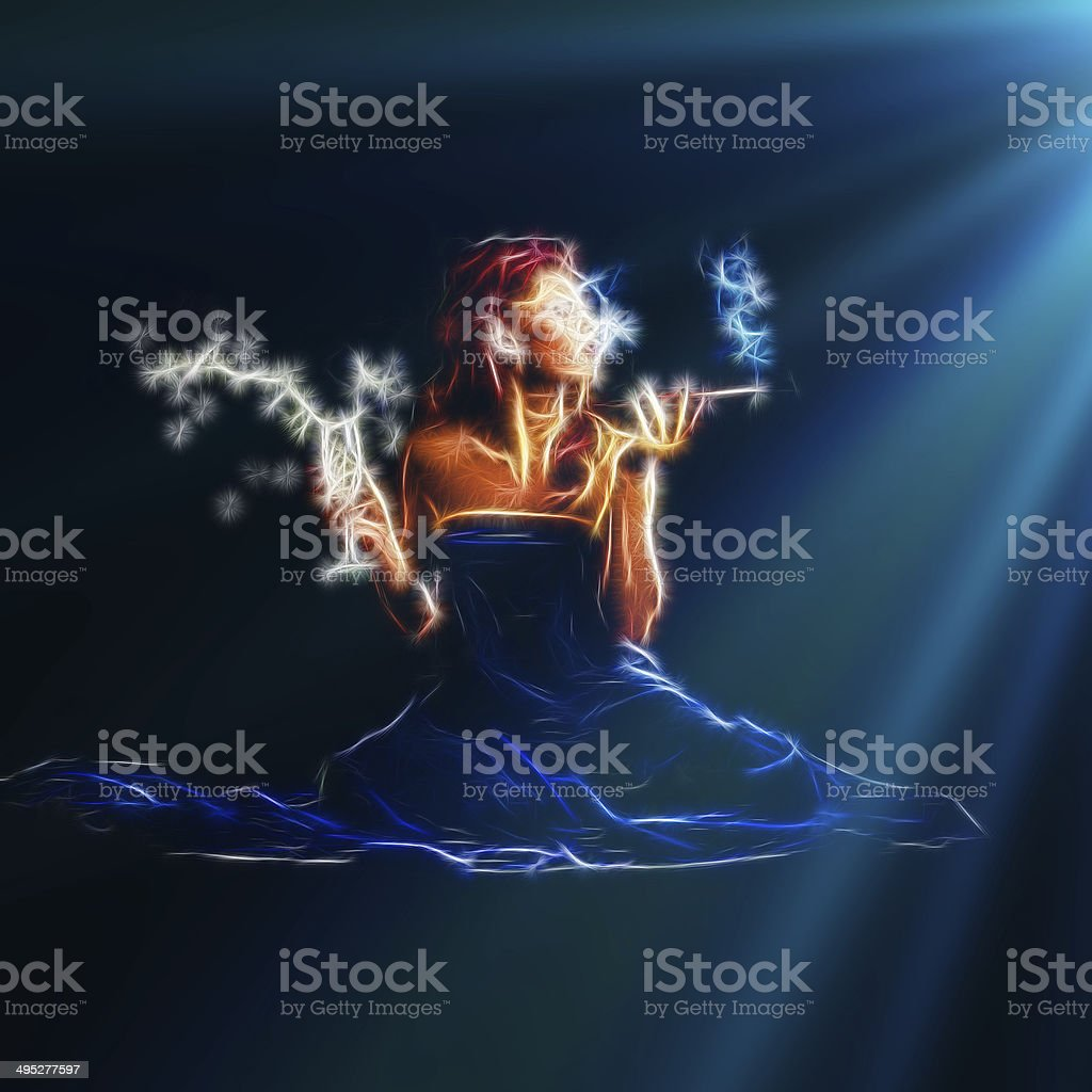 Sexy woman drink and smoke at night royalty-free stock photo