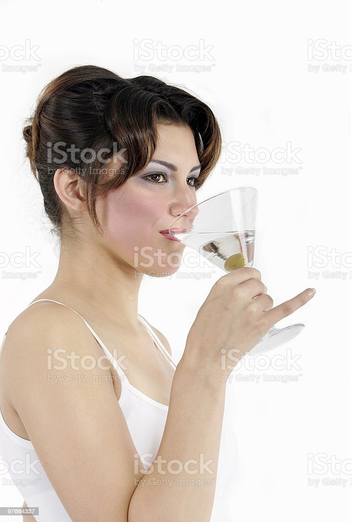 sexy woman drinking a martini royalty-free stock photo