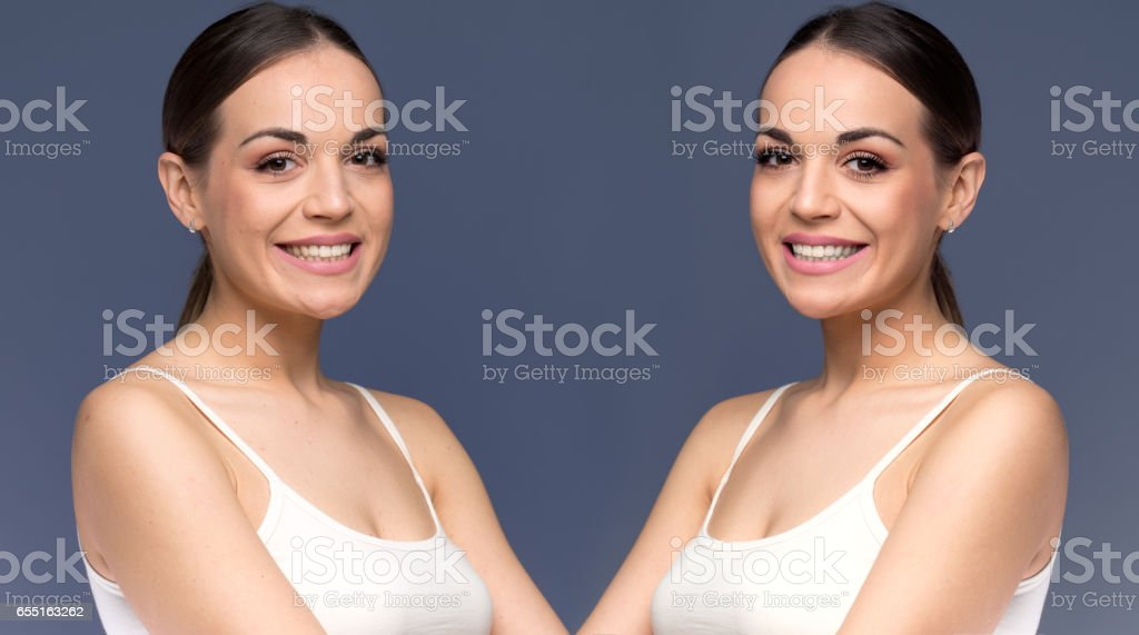 Sexy woman holding red heart stock photo