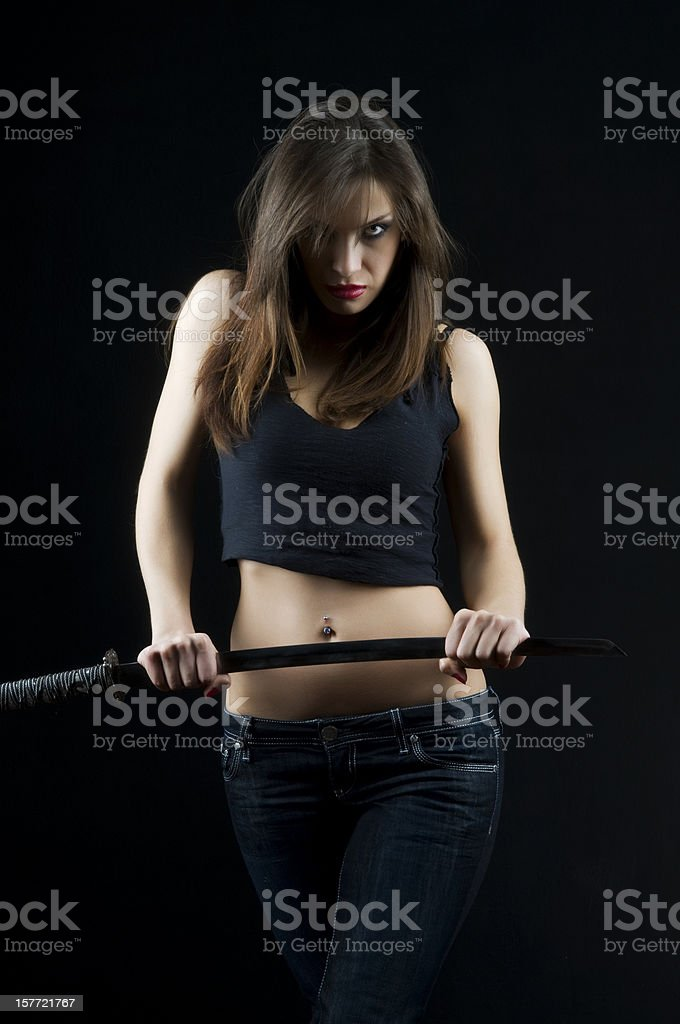 sexy woman holding sword royalty-free stock photo