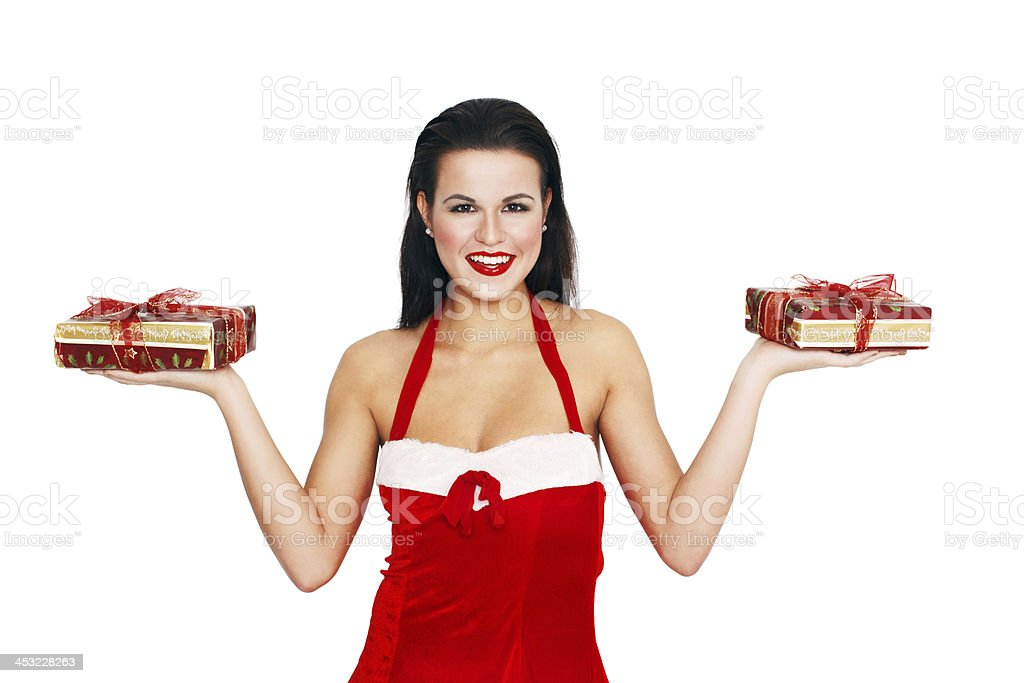 Sexy woman holding two gifts royalty-free stock photo