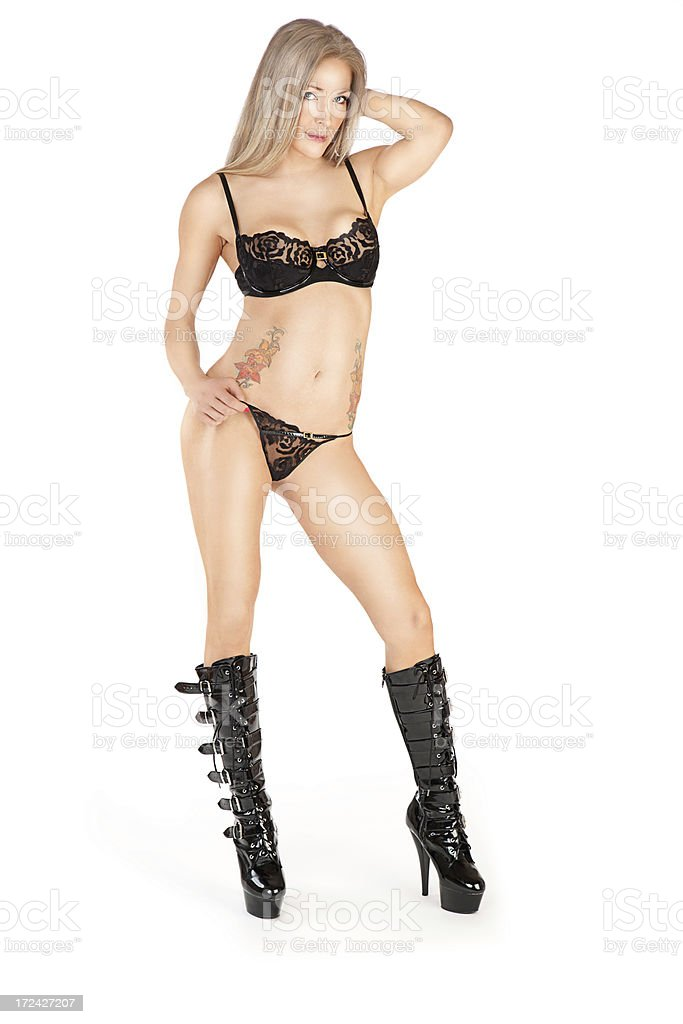 Sexy Woman in Black Lace Lingerie & Leather Boot royalty-free stock photo