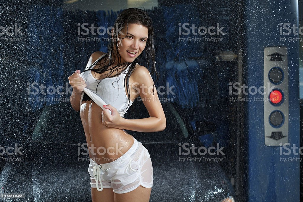 Sexy woman in car washing service royalty-free stock photo