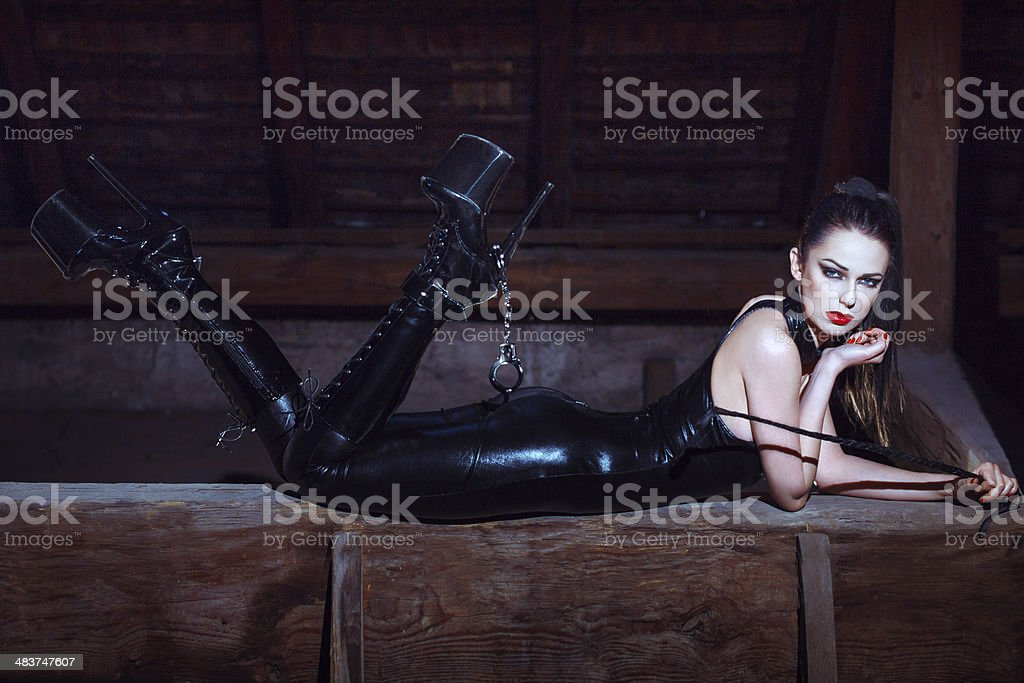 Sexy woman in catsuit royalty-free stock photo