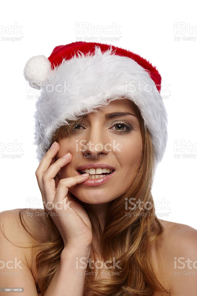 Sexy woman in Christmas hat royalty-free stock photo