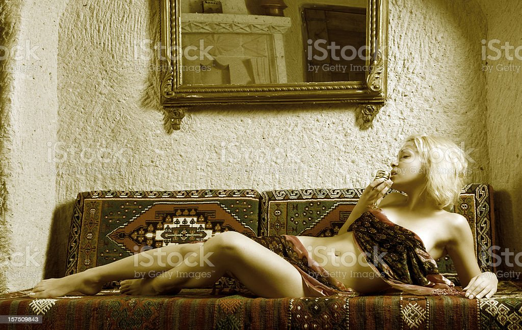 Sexy woman in oriental room royalty-free stock photo