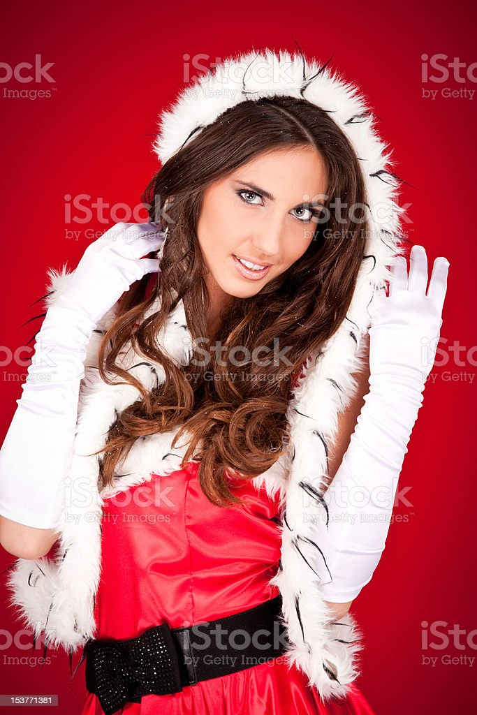 sexy woman in santa clothes royalty-free stock photo
