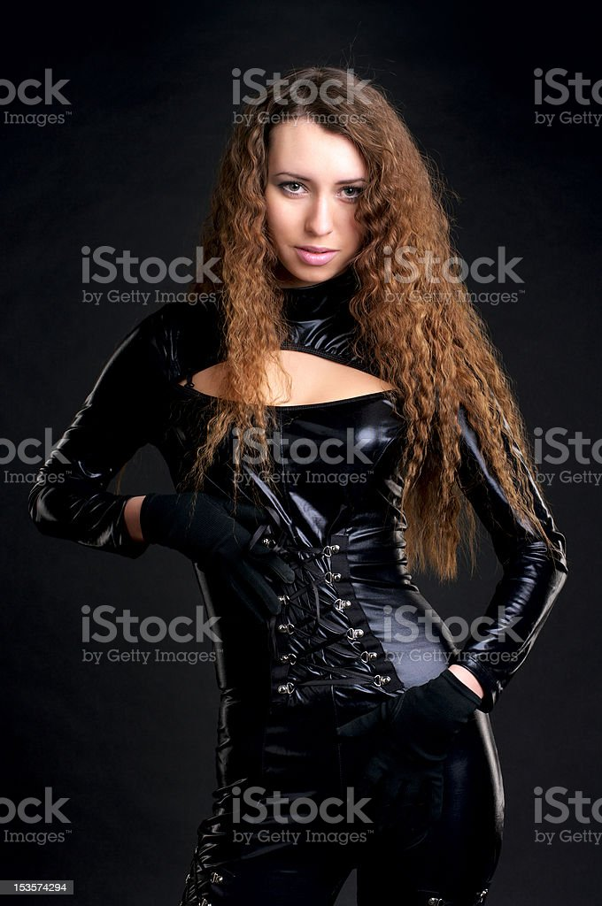 Sexy woman in skintight latex stock photo