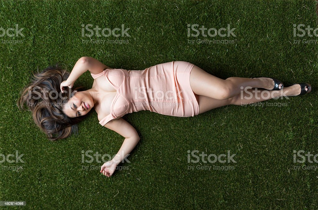 Sexy Woman In the Grass stock photo