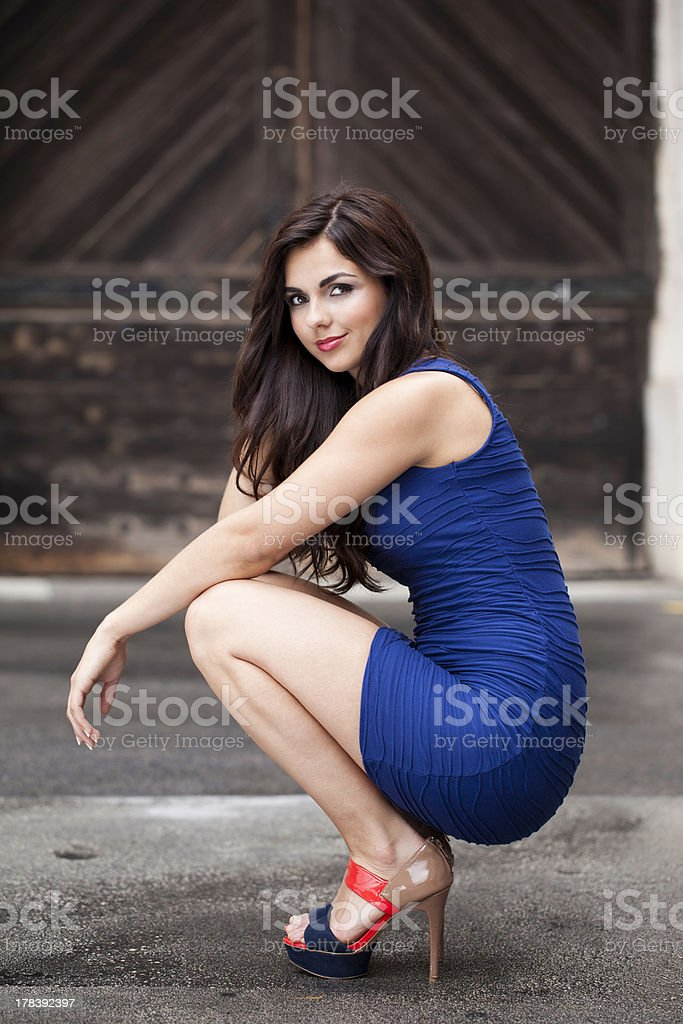 Sexy Woman In The Middle Of Street royalty-free stock photo