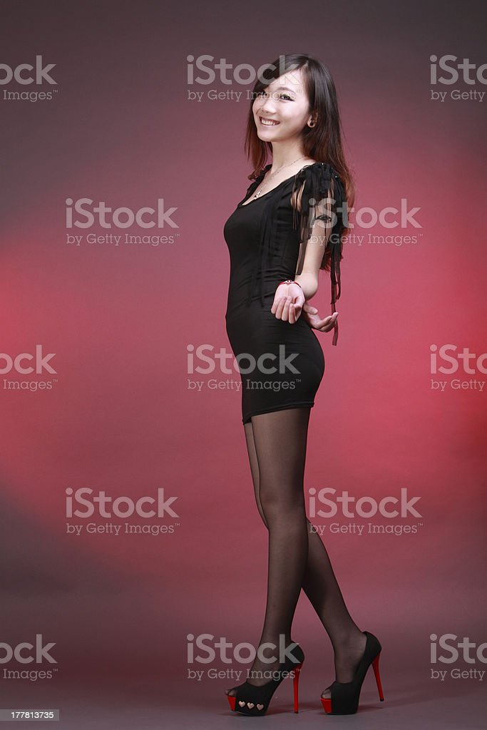 Sexy woman in various fun poses with colourful background. stock photo