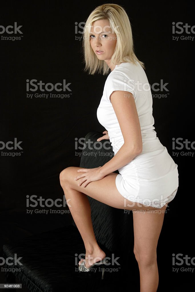 Sexy Woman In Very Short Dress With Underwear Showing Stepping O ...