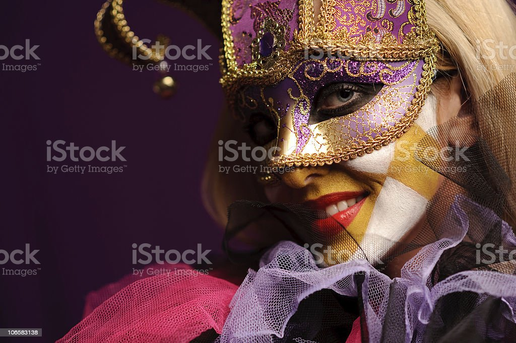 sexy woman in violet party mask royalty-free stock photo