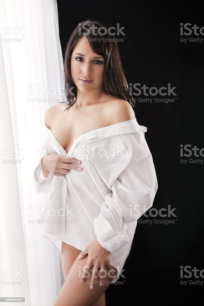 Sexy Woman in White Button-down Shirt royalty-free stock photo