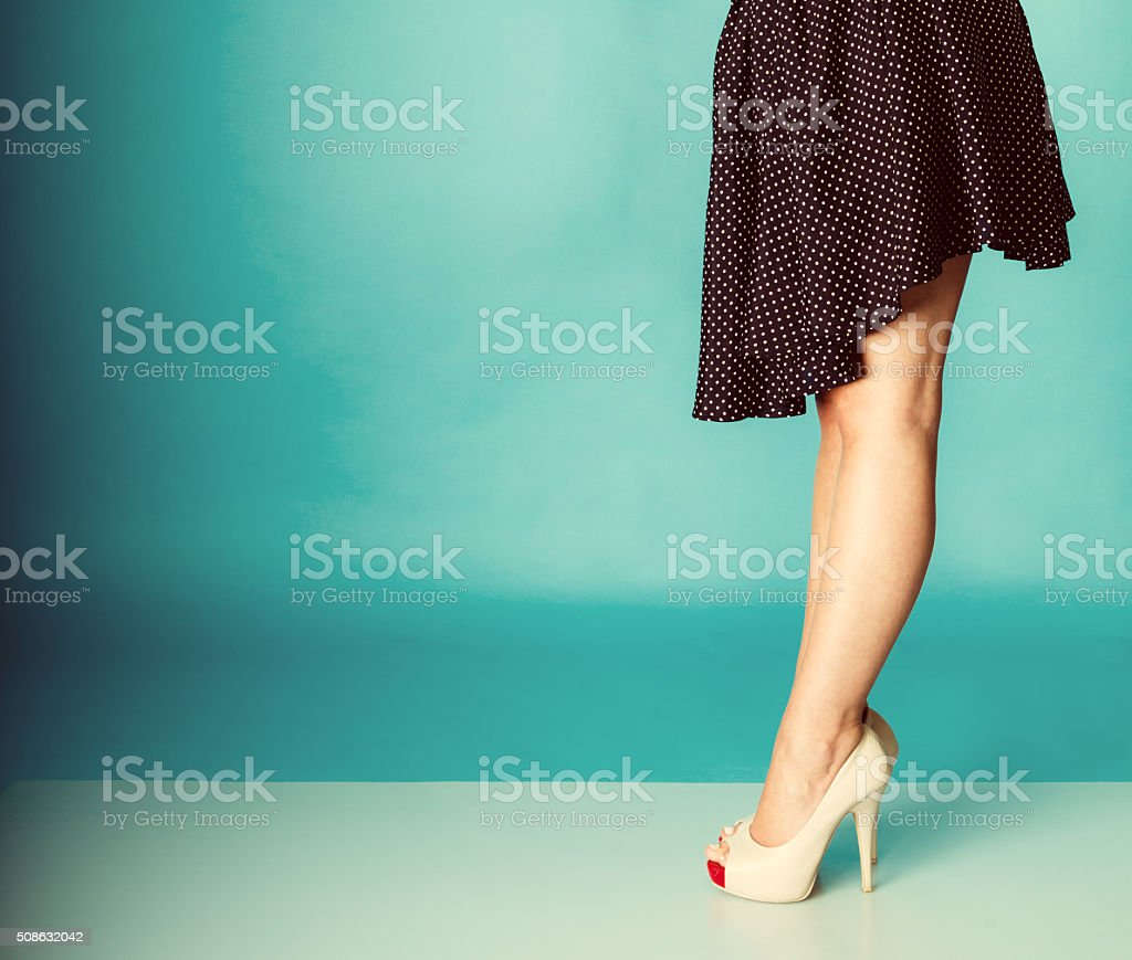 Sexy woman legs in high heels. stock photo