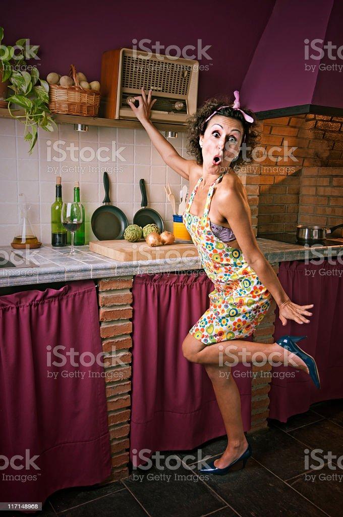 sexy woman listening to the radio stock photo