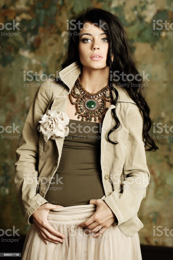 Sexy woman looking at camera, fashion portrait stock photo