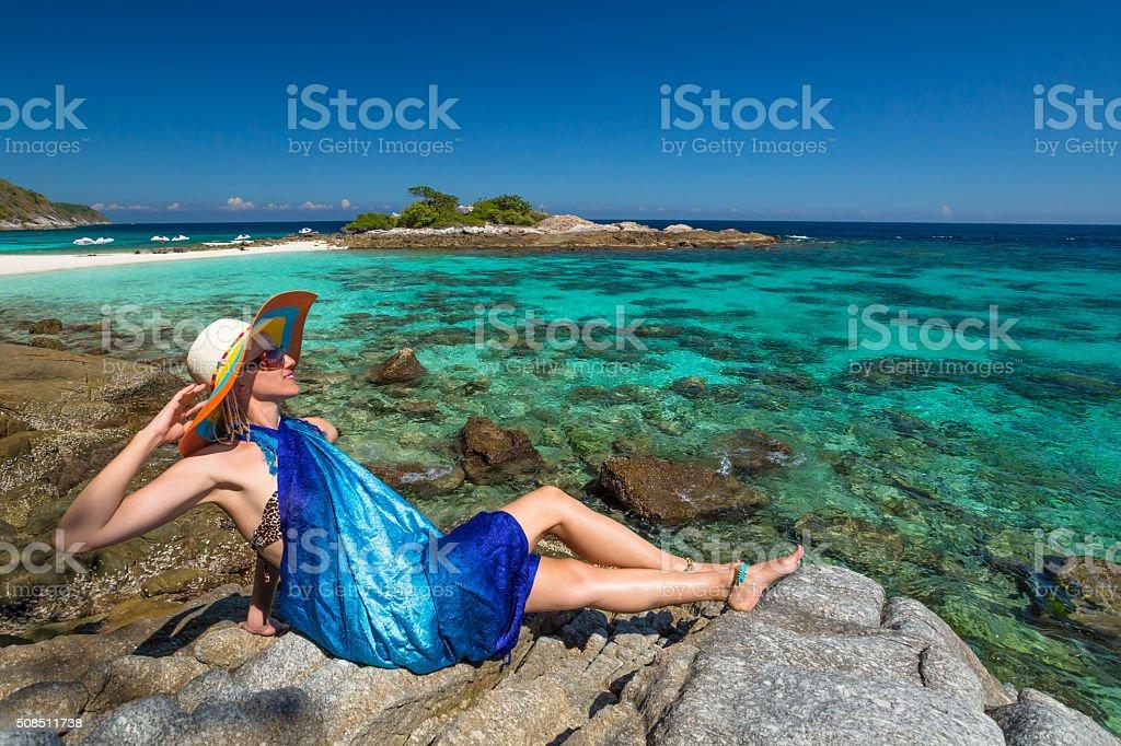 Sexy woman on tropical sea stock photo