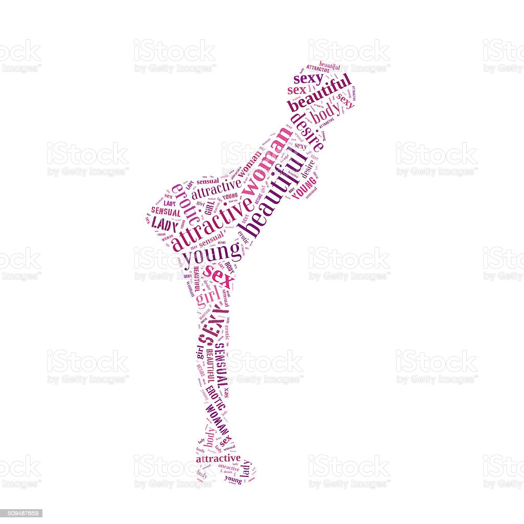 Sexy woman pink word cloud royalty-free stock photo