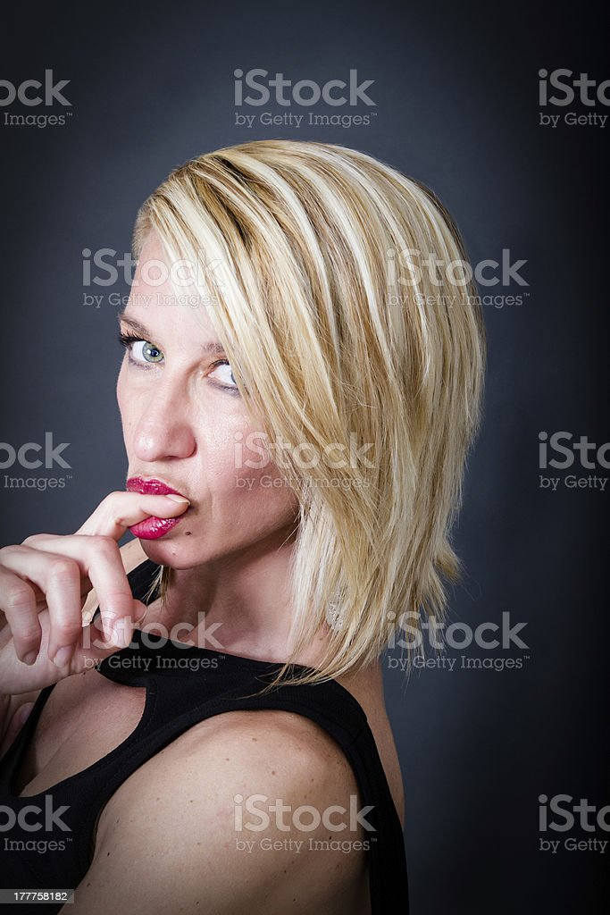 sexy woman playing with lips royalty-free stock photo
