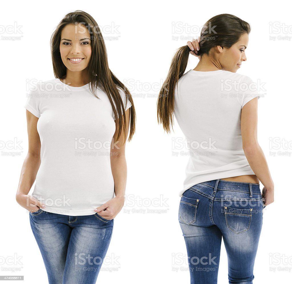 Sexy woman posing with blank white shirt stock photo
