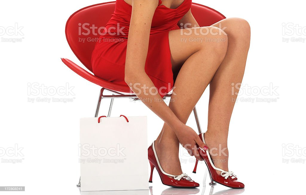 Sexy woman with blank white bag stock photo