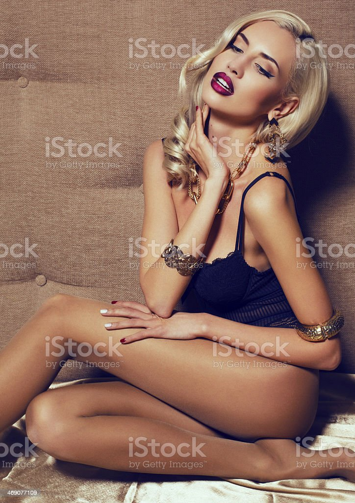 sexy woman with blond hair in lingerie stock photo