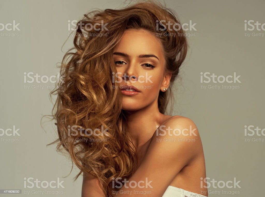 Sexy woman with long hair stock photo