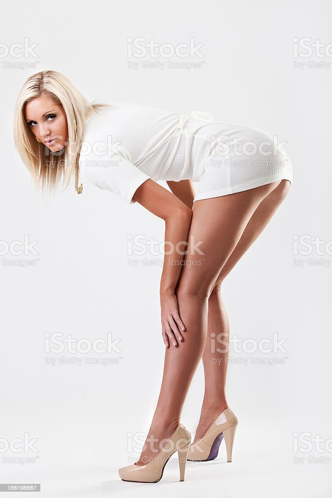 Sexy woman with long legs in heels stock photo
