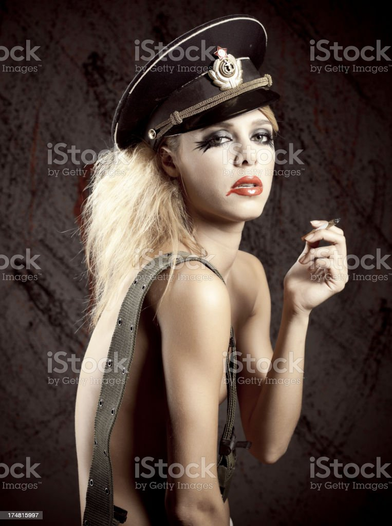 Sexy woman with military hat. royalty-free stock photo