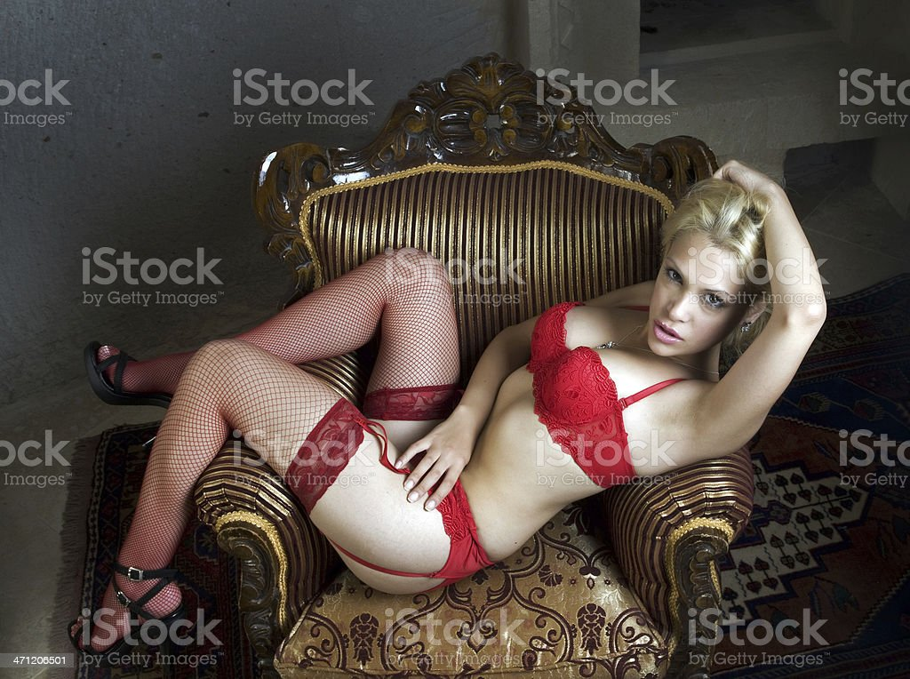 Sexy woman with red lingerie stock photo