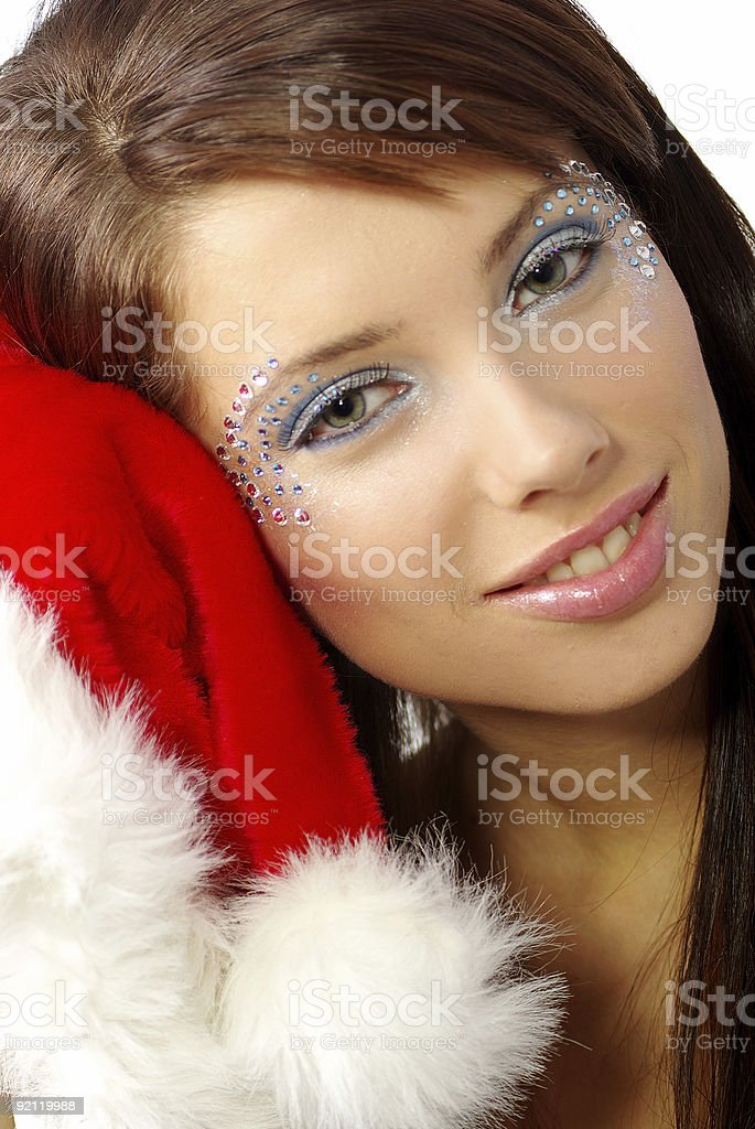 Sexy woman with santa claus hat royalty-free stock photo