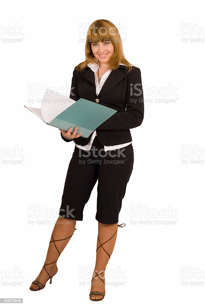 sexy woman writes something in her papers royalty-free stock photo