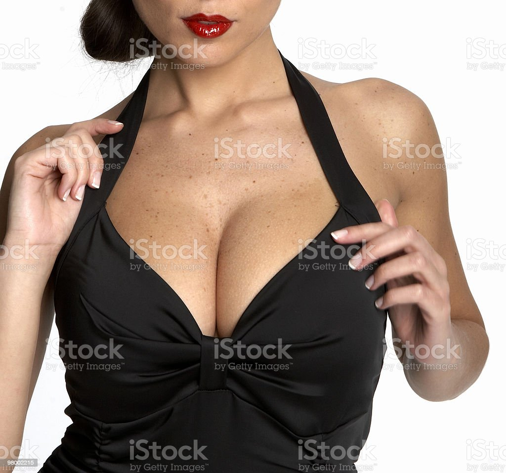 Sexy woman's cleavage stock photo
