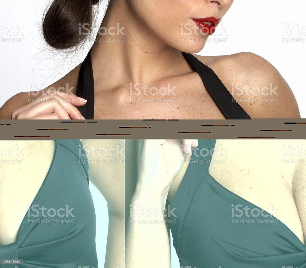 Sexy woman's neckline stock photo
