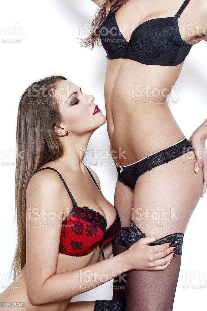 Sexy women playing in underwear royalty-free stock photo